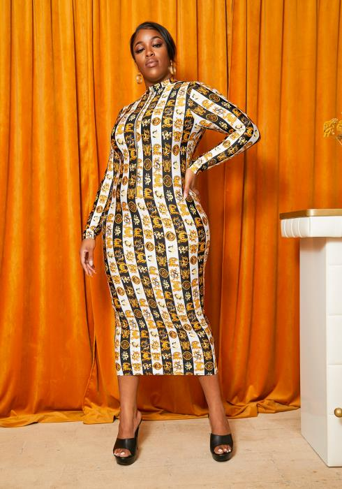 Asoph Curvy Womens Money Moves Bodycon Maxi Dress