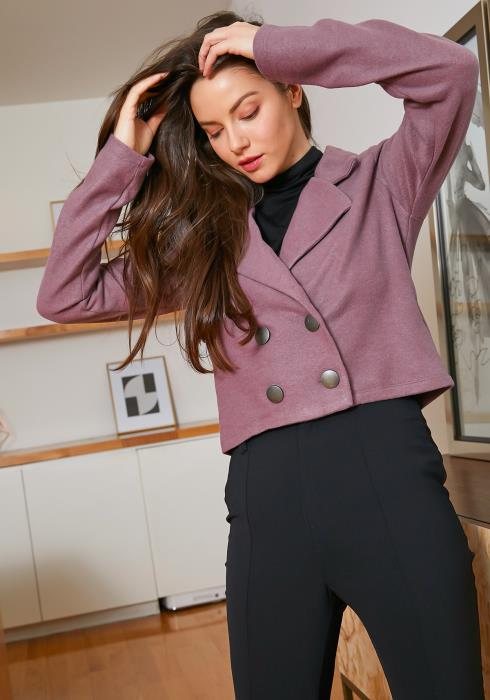 Tansy Notch Collar Womens Mauve Crop Blazer