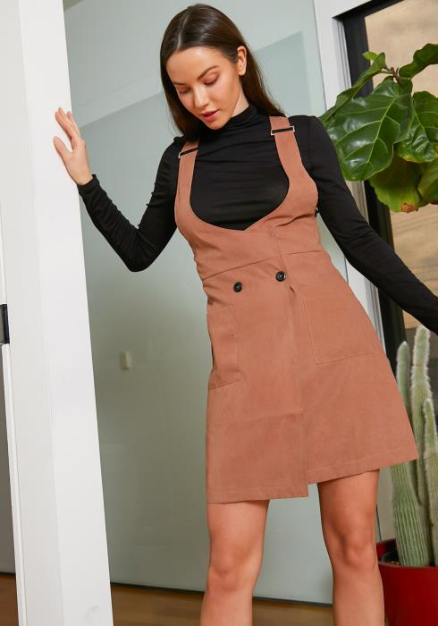 Tansy Womens Mocha Suede Dress Overalls