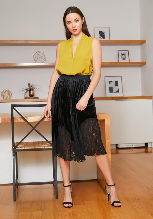 Tansy Black Velvet Lace Contrast Pleated Womens Skirt