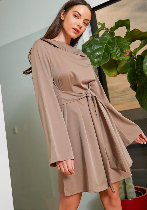Tansy Womens Mocha Knot Front Flare Dress