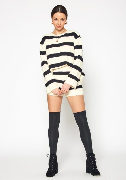 Tansy Womens Striped Crew Neck Sweater & Knitted Shorts Set