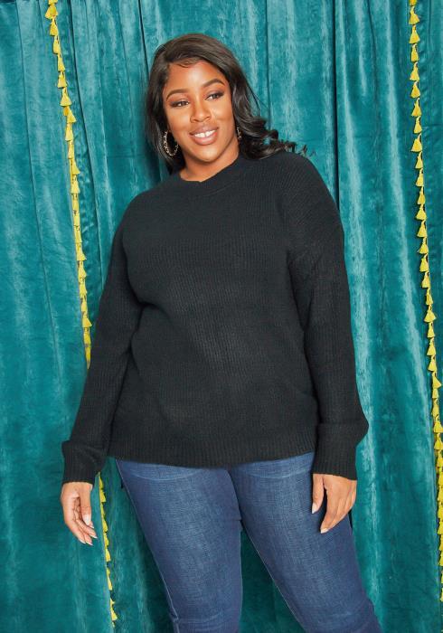 Asoph Plus Size Basic Crewneck Sweater