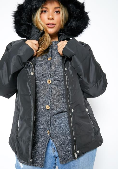 Asoph Plus Size Faux Fur Padded Coat