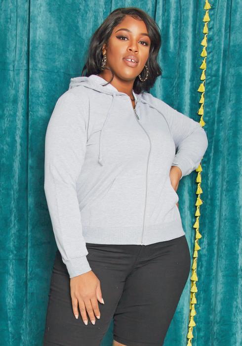 Asoph Plus Size Basic Zip Up Hoodie