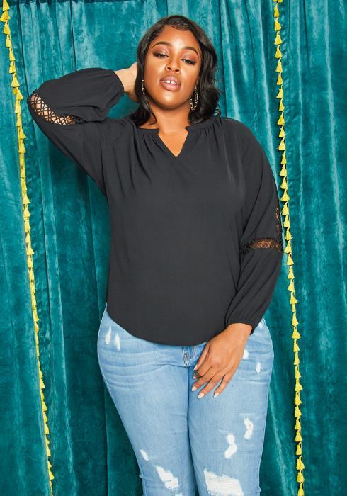 Asoph Plus Size Trim Off Womens Casual Slit Blouse