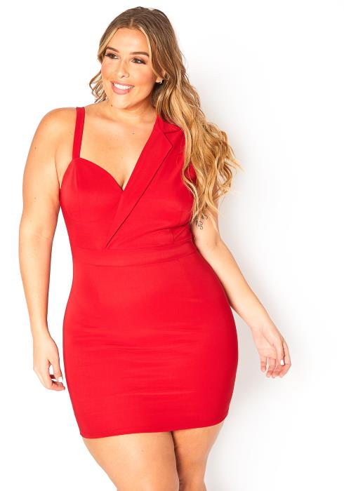 Asoph Plus Size Notch Collar Splice Mini Bodycon Dress