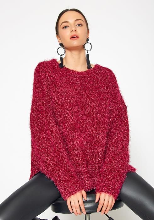 Tansy Womens Metallic Magenta Fuzz Sweater