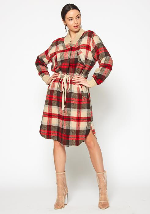 Tansy Tartan Plaid Womens Fleece Midi Dress