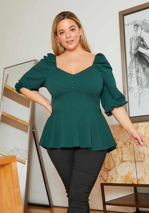 Asoph Plus Size Classy Womens Forest Green Peplum Top