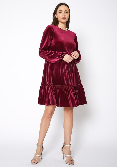 Bellatrix Womens Red Velvet Flare Dress