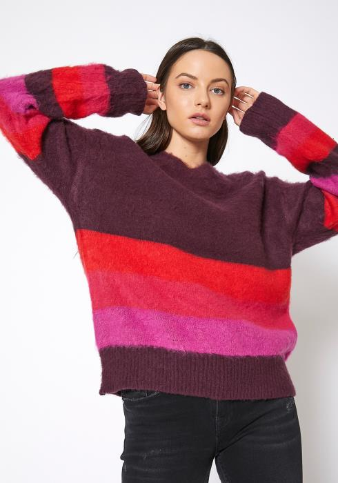Bellatrix Vibrant Color Striped Shaggy Knit Sweater