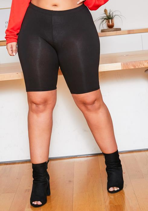 Asoph Plus Size Casual Mood Biker Shorts