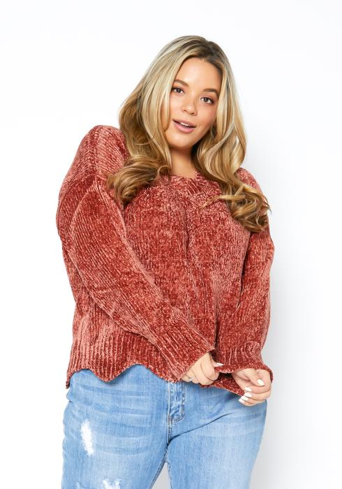 Asoph Plus Size Soft Knitted Womens Petal Edged Sweater