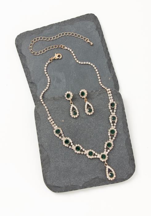 Asoph Bloomsburry Emerald Diamond Earring & Necklace Set