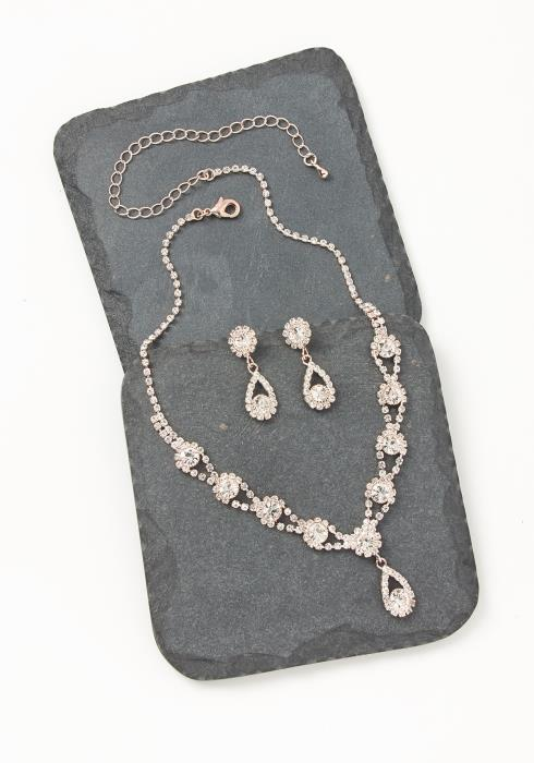Asoph Bloomsburry Rose Gold Diamond Earring & Necklace Set