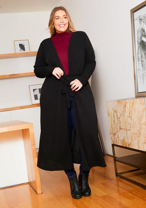 Asoph Plus Size Longline Womens Belted Cardigan