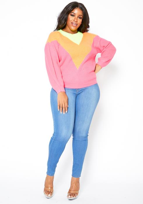 Asoph Plus Size Neon Chevron Womens Knit Sweater
