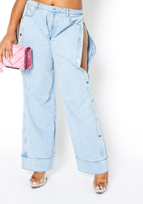 Asoph Plus Size Light Wash Side Slit Straight Jean