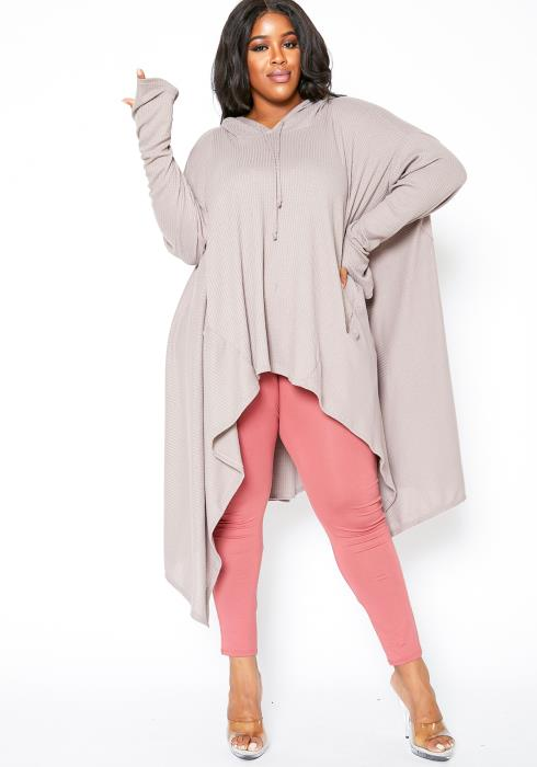 Asoph Plus Size Oversized Taupe Waffle Knit High Low Hooded Sweater