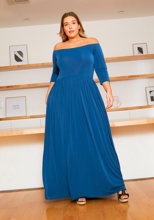 Asoph Plus Size Off Shoulder Elegant Evening Dress
