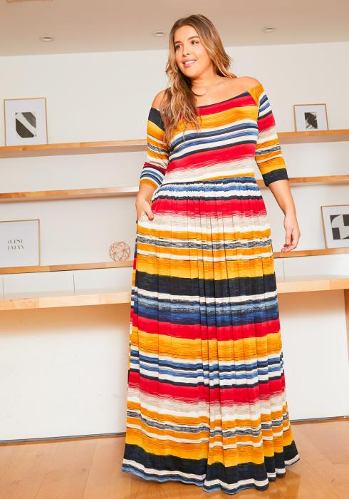 Asoph Plus Size Jupiter Striped Womens Flare Maxi Dress