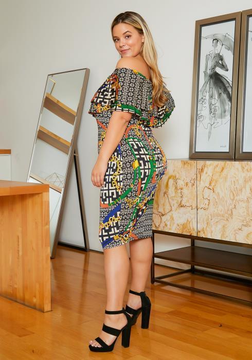 Asoph Plus Size Luxury Greek Chain Pattern Off Shoulder Bodycon Dress