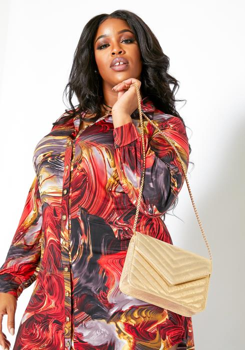 Asoph Plus Size Womens Fiery Watercolor Button Front Dress