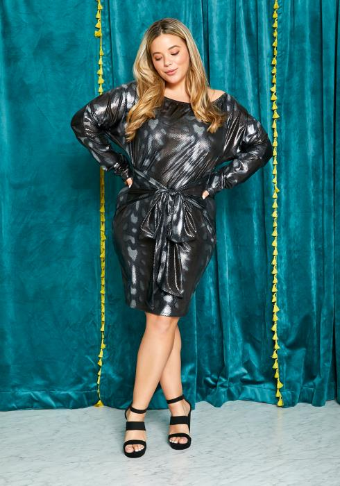 Asoph Plus Size Metallic Snakeskin Womens Tie Front Dress
