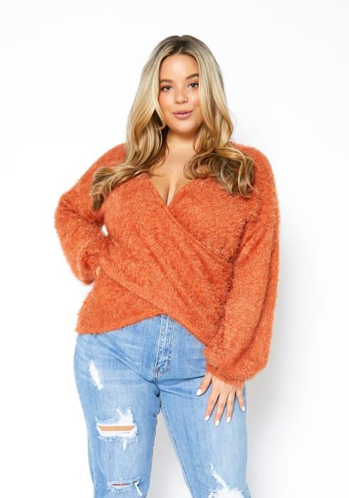 Asoph Plus Size Shaggy Overlay Womens Sweater