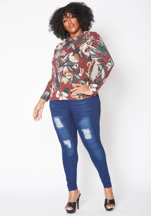 Asoph Plus Size Antique Floral Print Long Sleeve Top