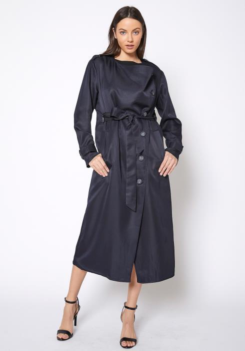Ro & De Tie Waist Maxi Trench Coat