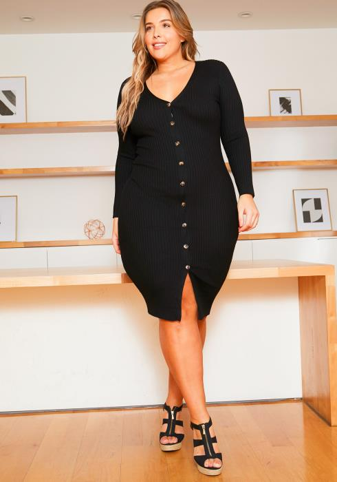 Asoph Plus Size Womens Button Front Ribbed Midi Dress