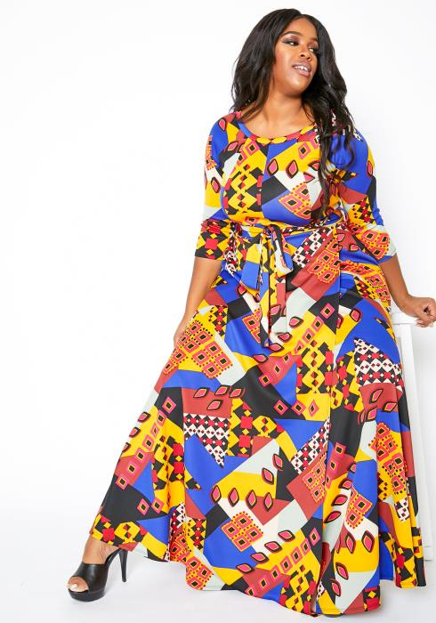 Asoph Plus Size Women Retro Shapes Pattern Maxi Dress