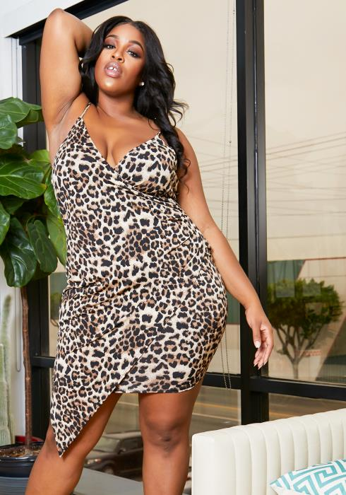 Asoph Plus Size Cheetah Girl Asymmetric Cami Dress