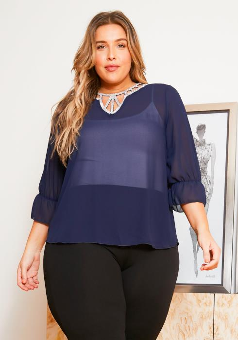 Asoph Plus Size Sheer Womens Diamond Ascent Blouse