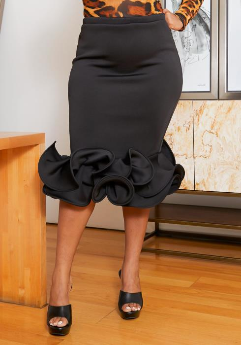 Asoph Plus Size Ruffle Mermaid Hem Pencil Skirt