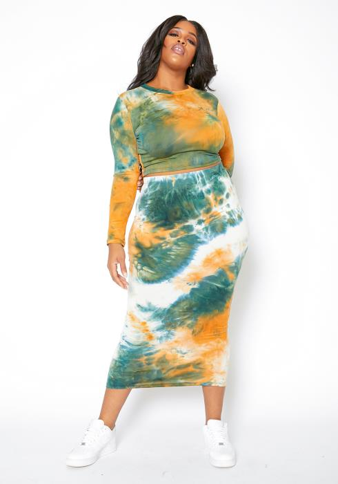 Asoph Curvy Womens Tangy Tie Dye Fitted Top & Maxi Skirt Set