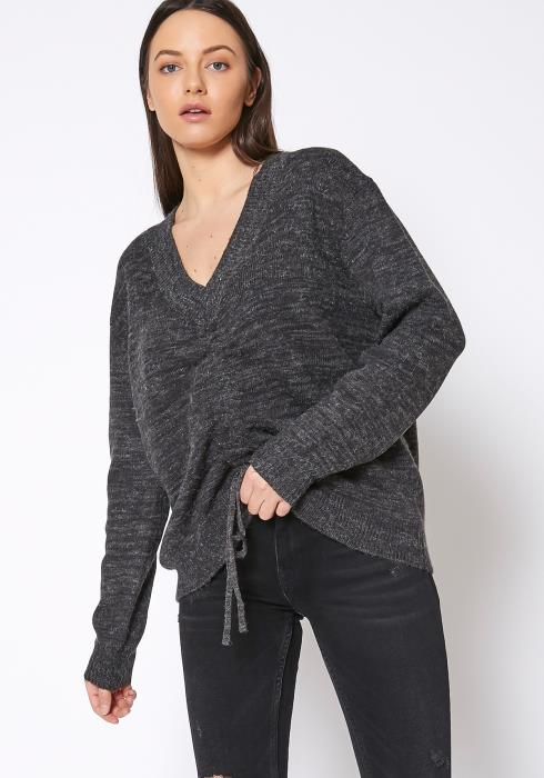 Pleione Womens V-Neck Ruched Sweater