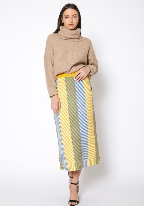 Pleione Multi Stripe Knit Midi Skirt