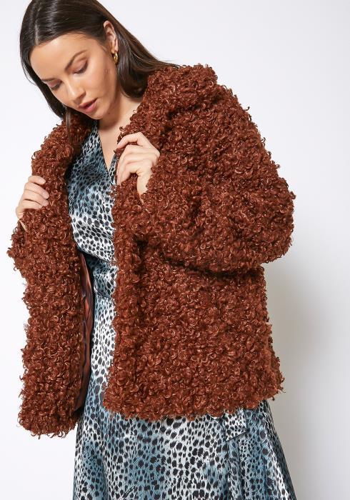 Pleione Womens Curly Faux Fur Teddy Coat