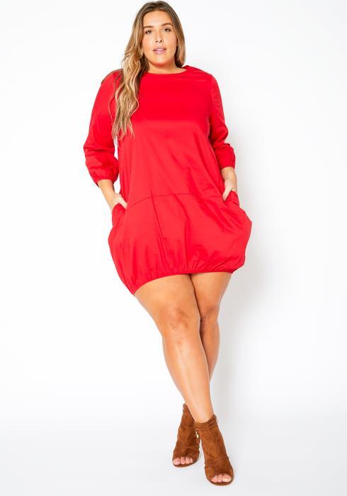 Asoph Plus Size Casual Womens Crew Neck Mini Dress