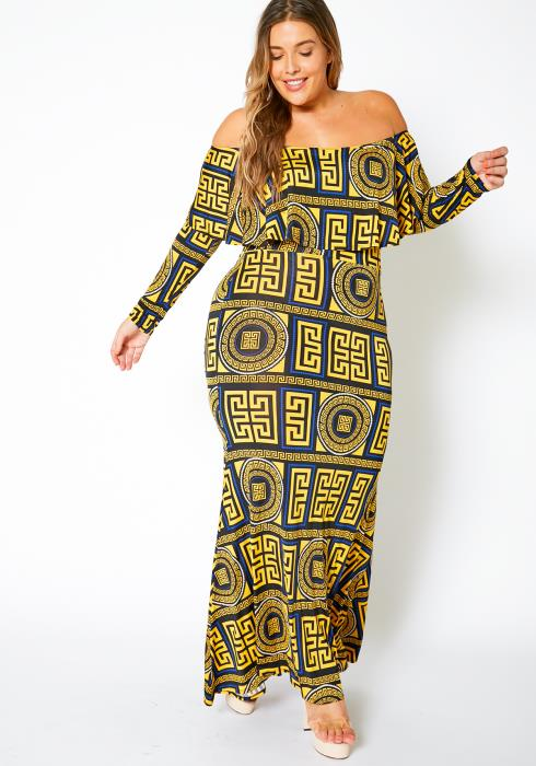 Asoph Curvy Womens Greek Goddess Off Shoulder Maxi Dress
