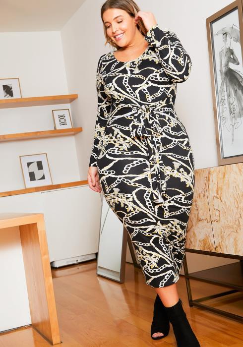 Asoph Plus Size Chains & Ropes Bodycon Womens Midi Dress