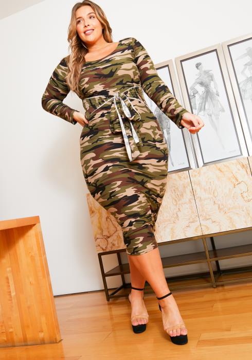 Asoph Curvy Womens Camo Front Tie Bodycon Midi Dress