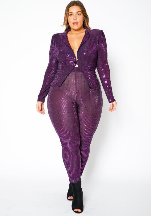 Asoph Curvy Womens Purple Sequin Blazer & Leggings Set