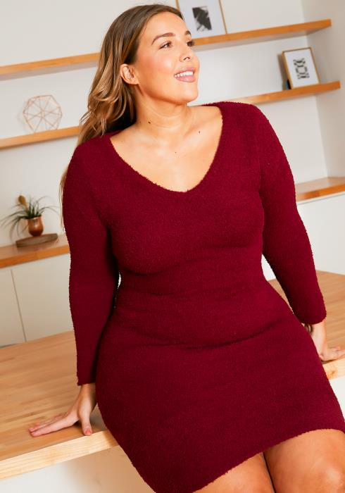 Asoph Plus Size Cozy Furry Basic Bodycon Dress