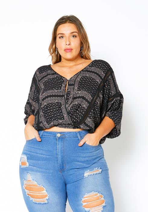 Asoph Plus Size Classic Vintage Womens Batwing Top