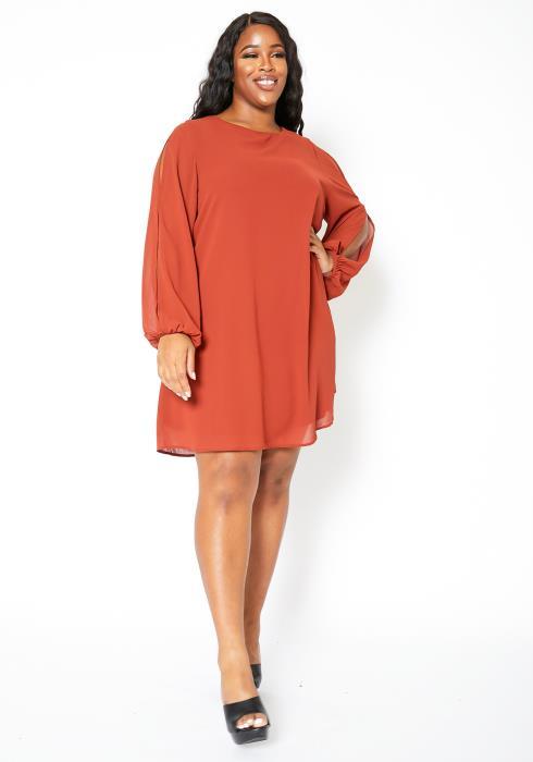 Asoph Plus Size Slit Sleeve Tunic Chiffon Dress