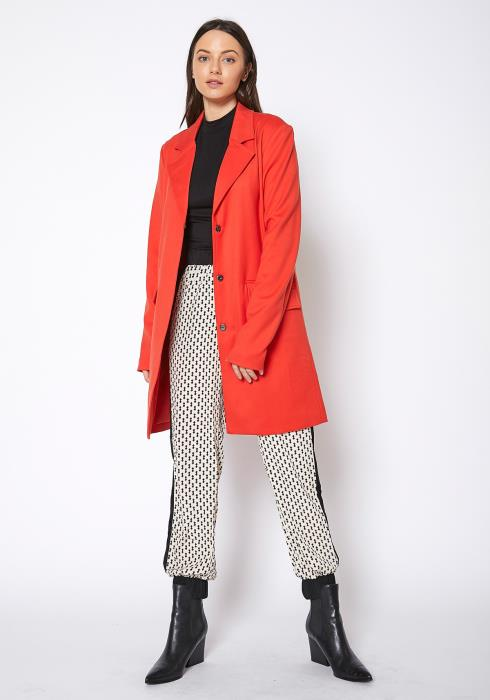 RO & DE Notch Collar Paprika Longline Jacket